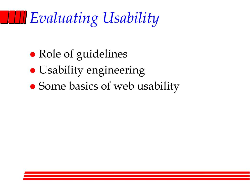 Evaluating Usability