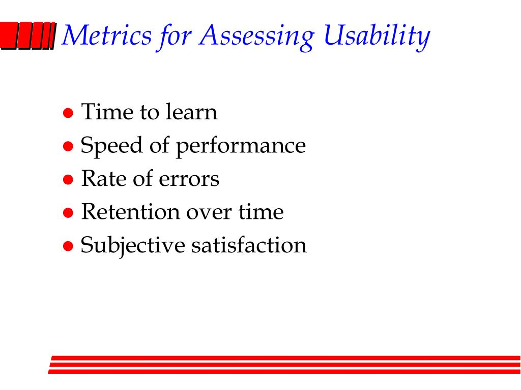 Metrics for Assessing Usability