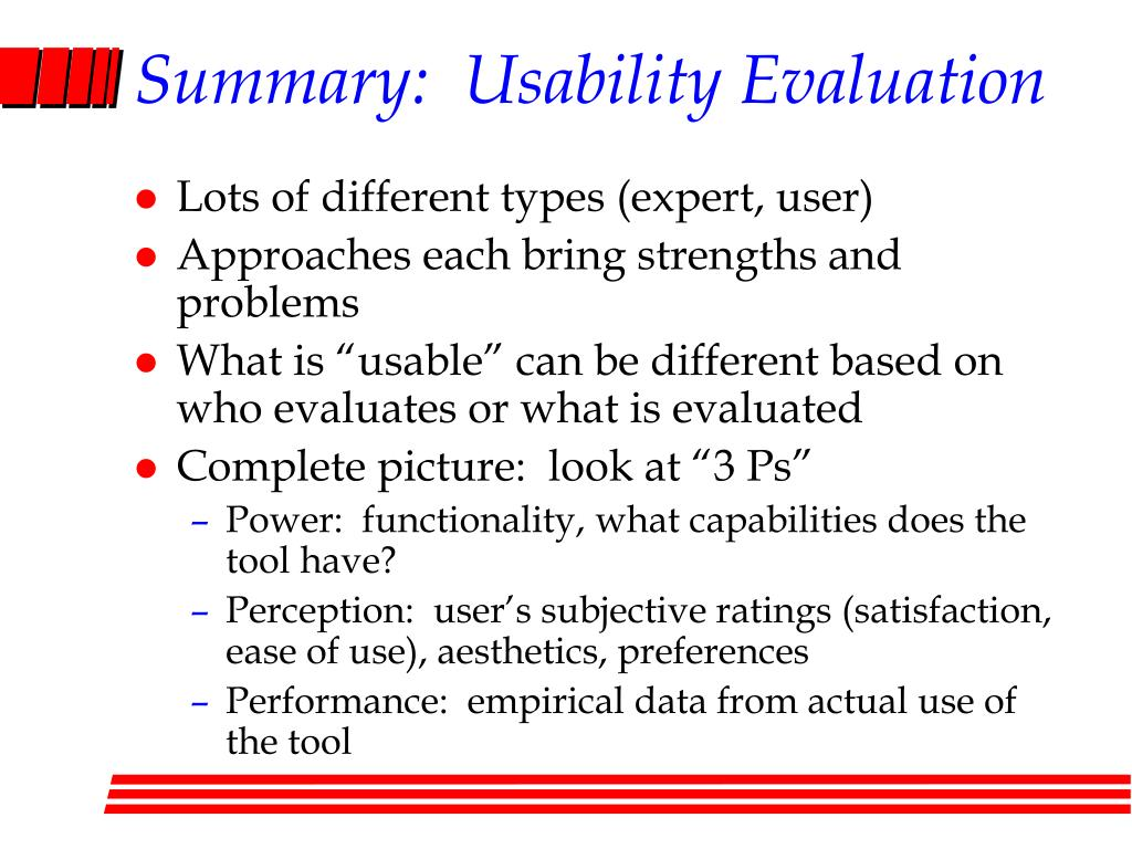 Summary:  Usability Evaluation