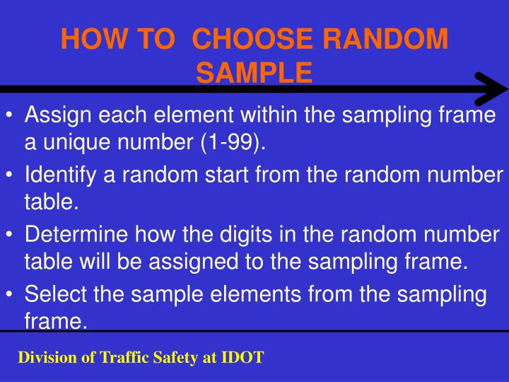 HOW TO  CHOOSE RANDOM SAMPLE