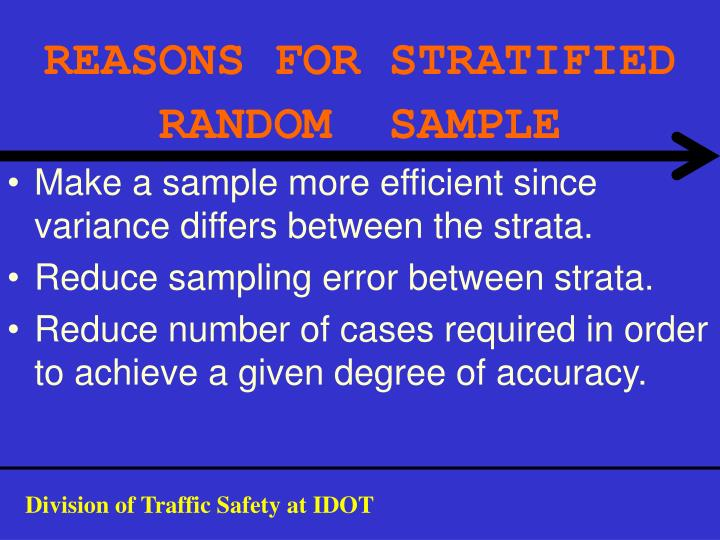 REASONS FOR STRATIFIED RANDOM  SAMPLE