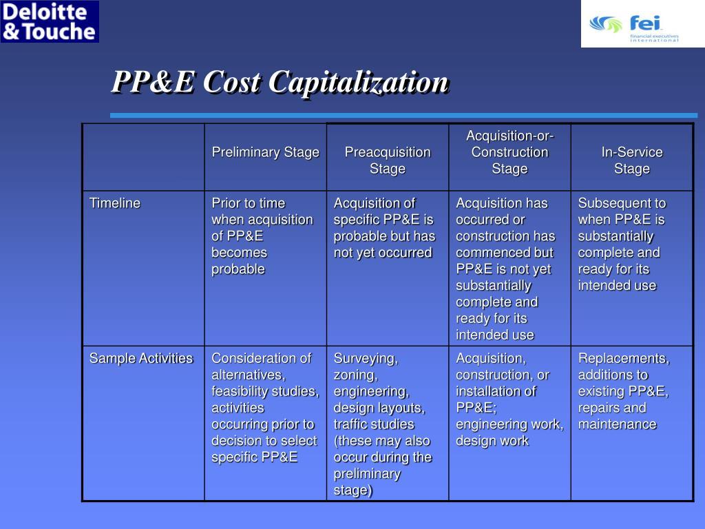PP&E Cost Capitalization