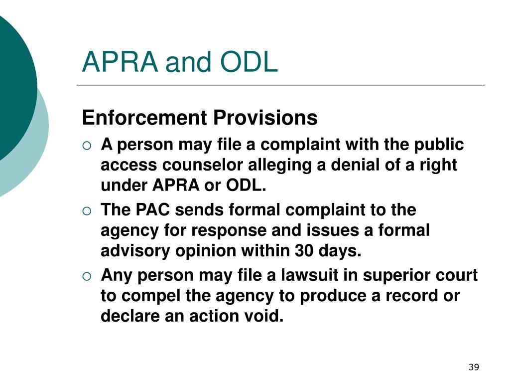 APRA and ODL