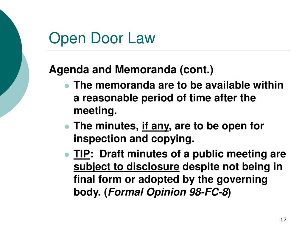 Open Door Law