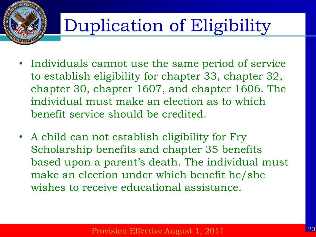 Duplication of Eligibility