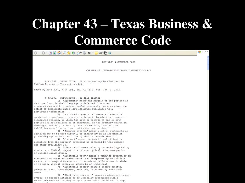 Chapter 43 – Texas Business & Commerce Code