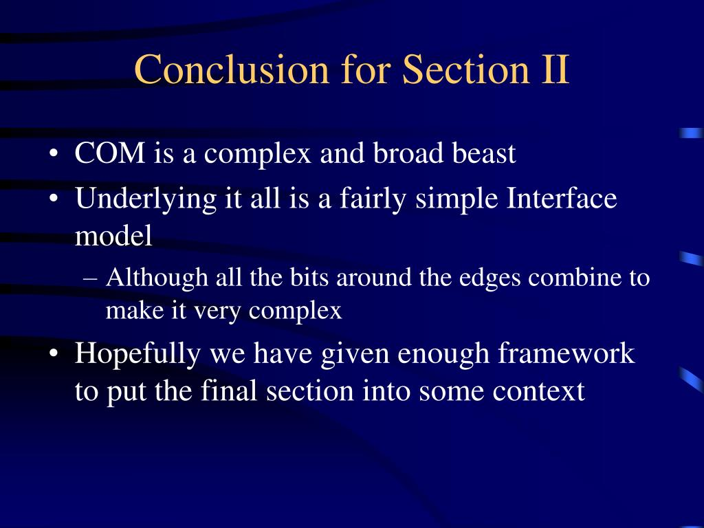 Conclusion for Section II