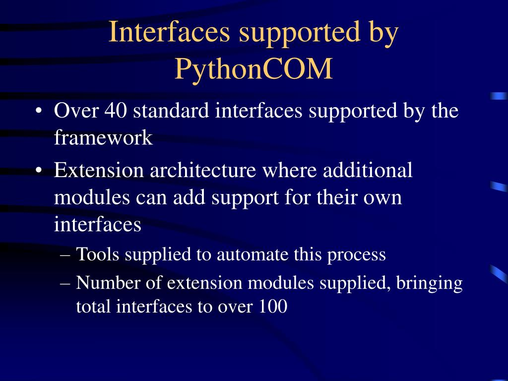 Interfaces supported by PythonCOM