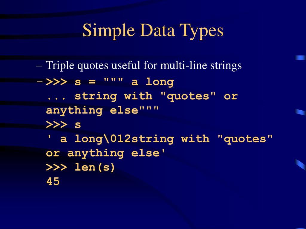 Simple Data Types