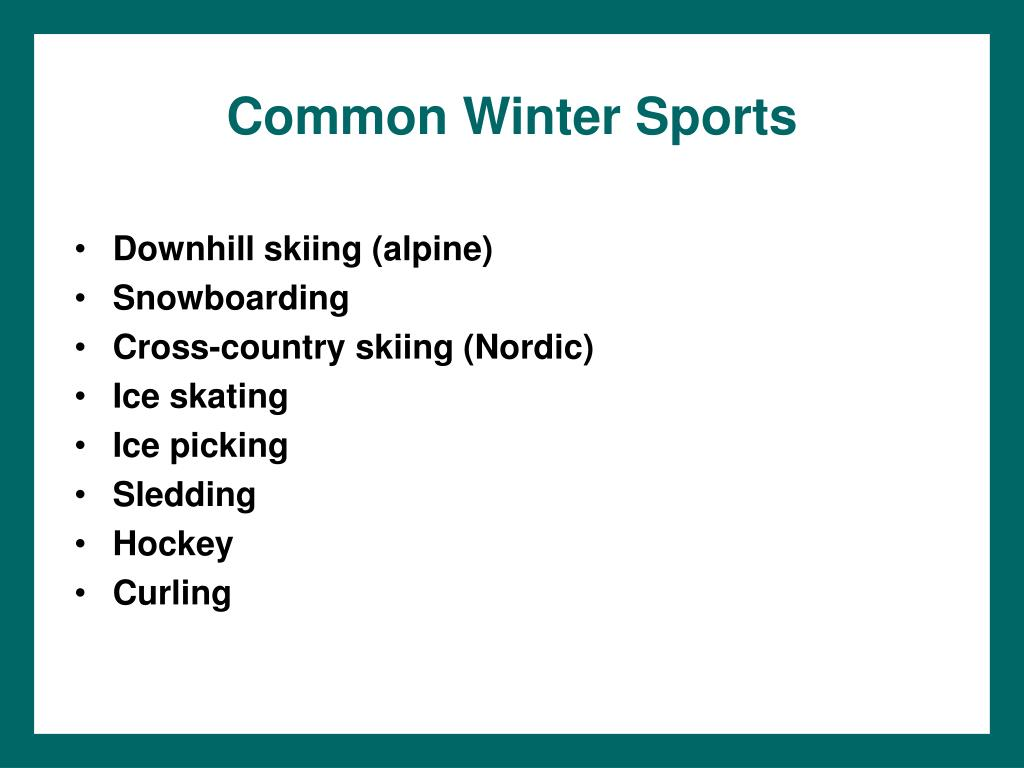 Common Winter Sports