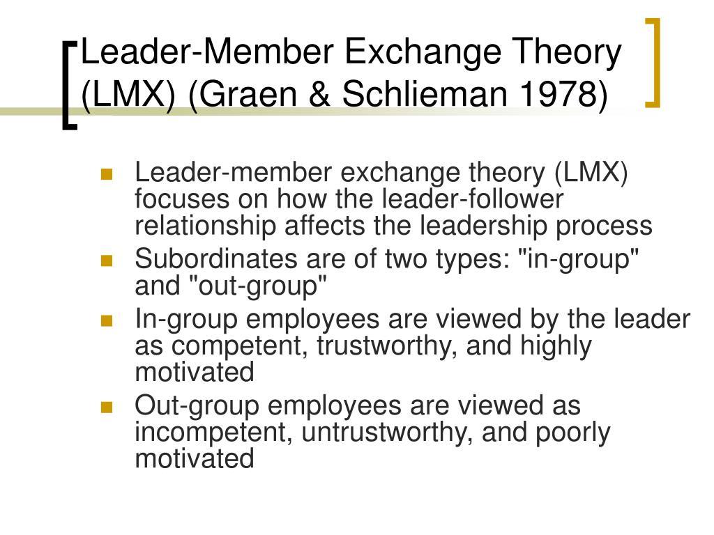 Leader‑Member Exchange Theory (LMX) (Graen & Schlieman 1978)