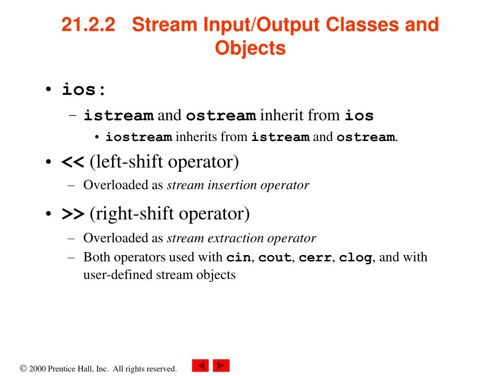 21.2.2   Stream Input/Output Classes and Objects