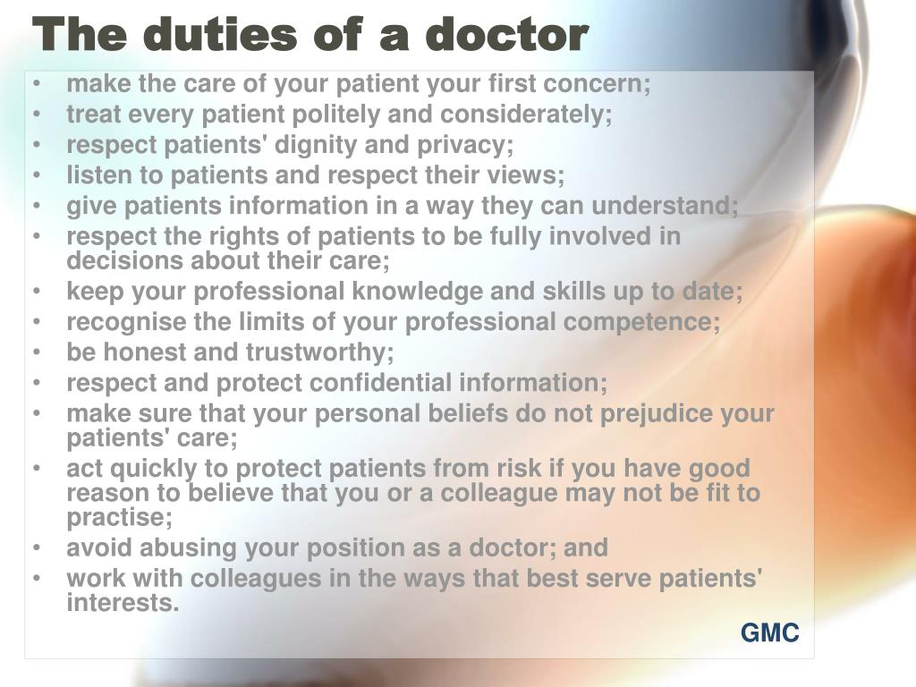 The duties of a doctor