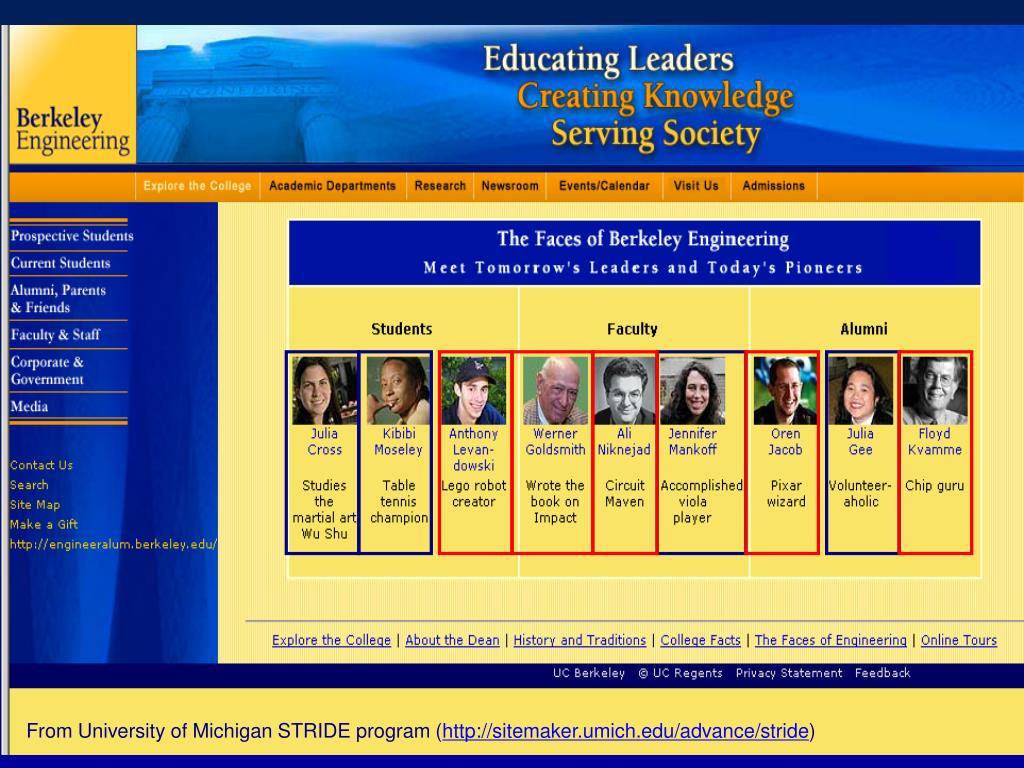 From University of Michigan STRIDE program (