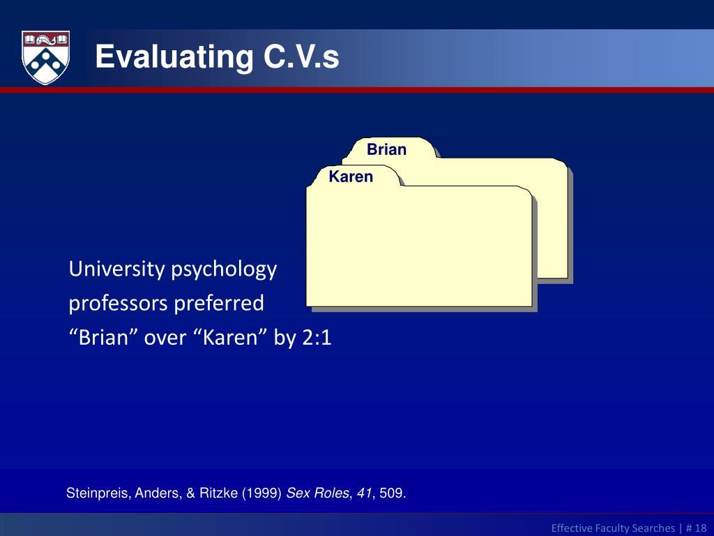 Evaluating C.V.s
