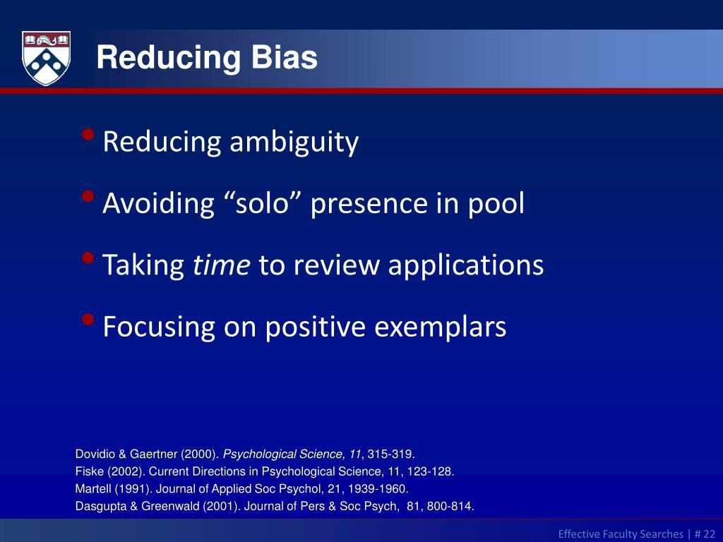 Reducing Bias