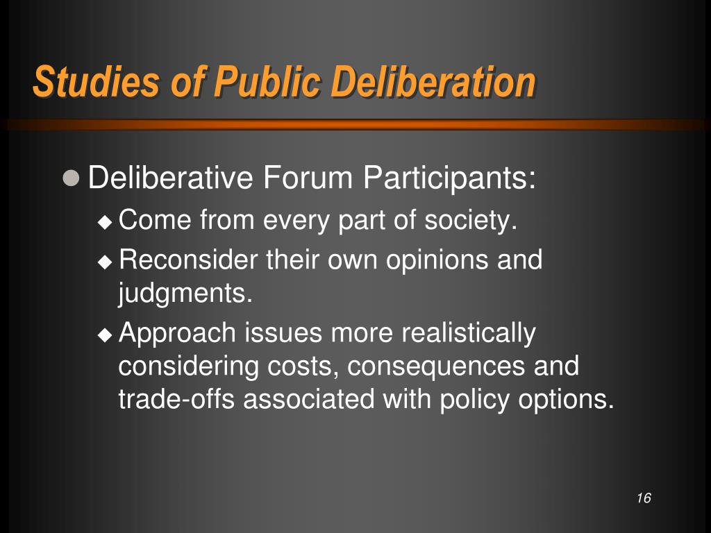 Studies of Public Deliberation