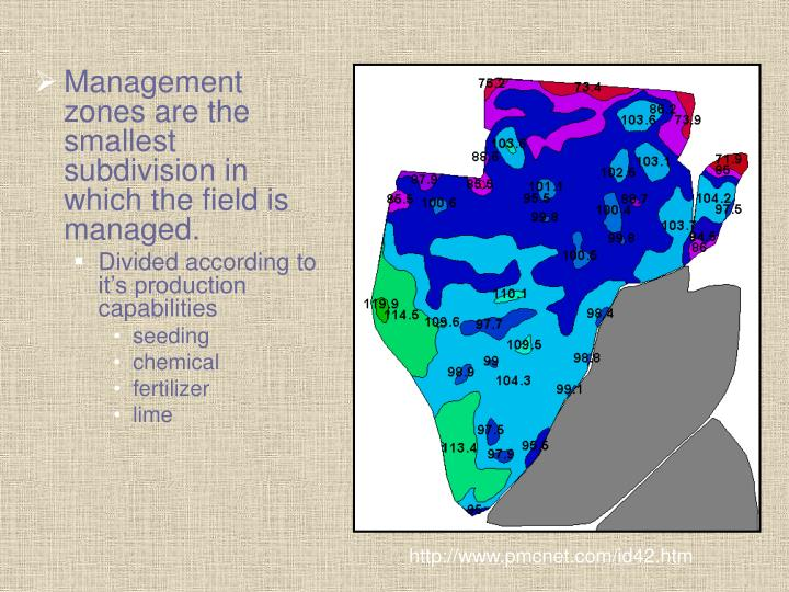 Management zones are the smallest subdivision in which the field is managed.