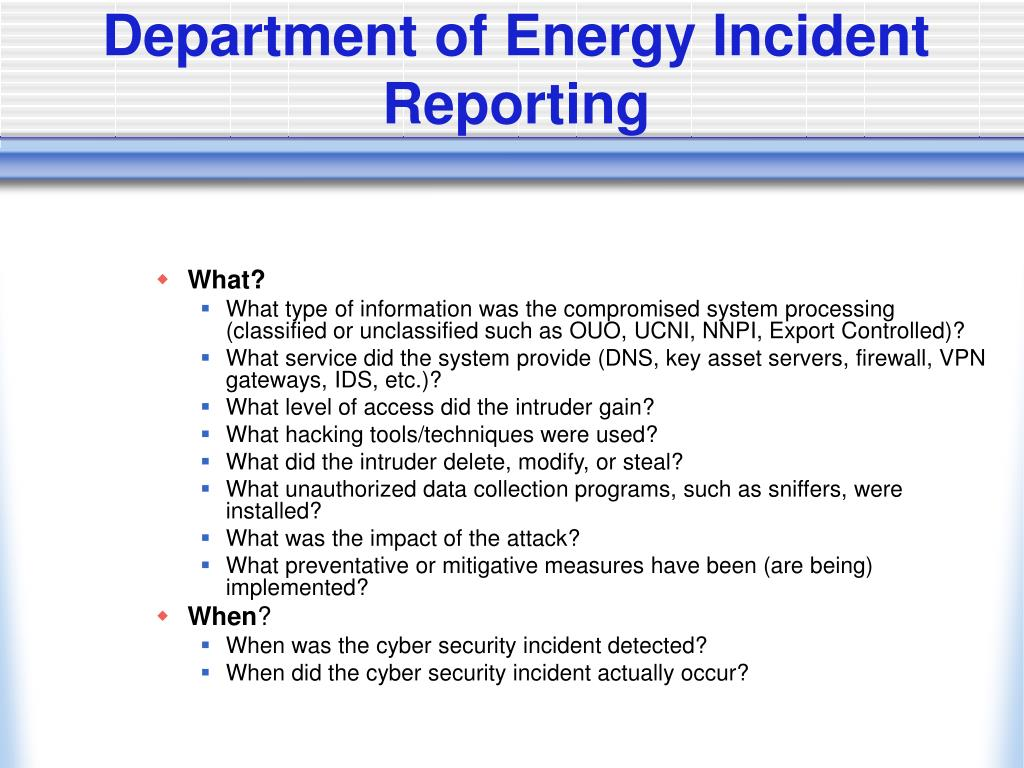 Department of Energy Incident Reporting