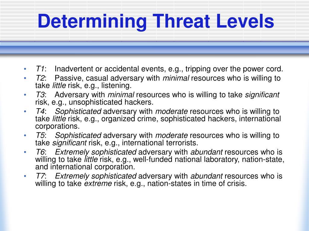 Determining Threat Levels