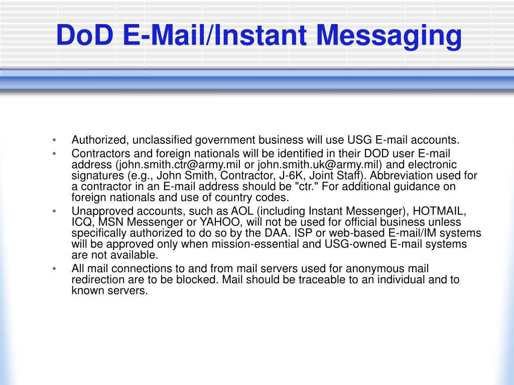 DoD E-Mail/Instant Messaging