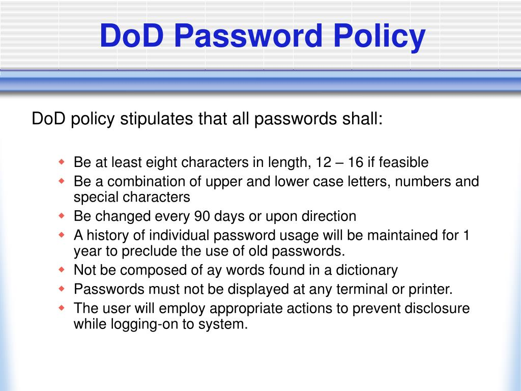 DoD Password Policy