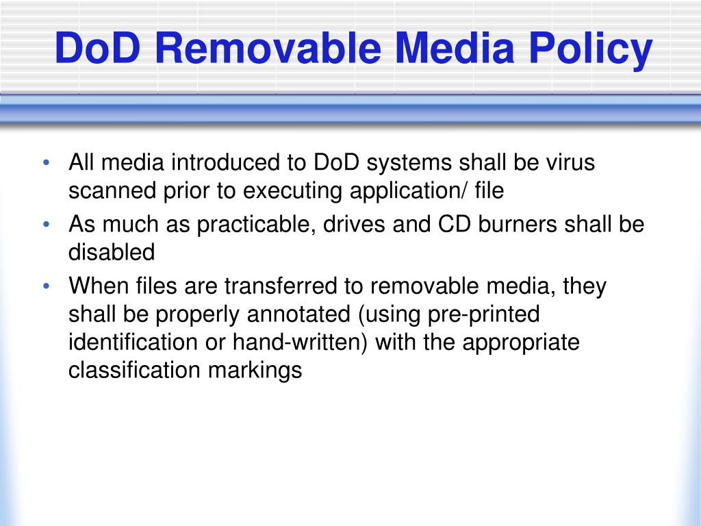 DoD Removable Media Policy
