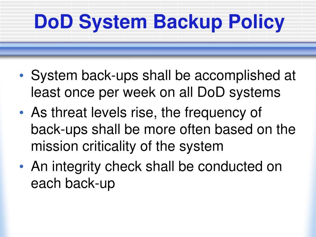 DoD System Backup Policy