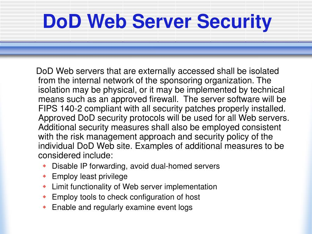 DoD Web Server Security