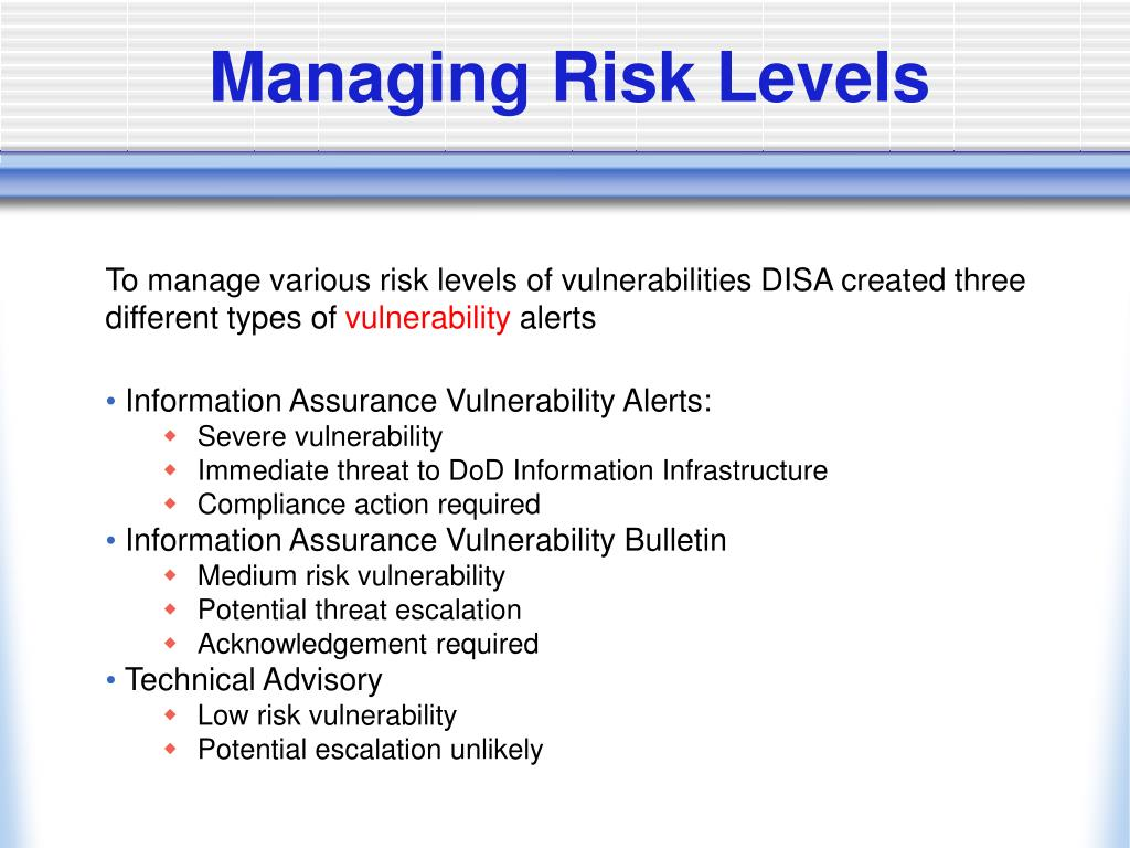 Managing Risk Levels