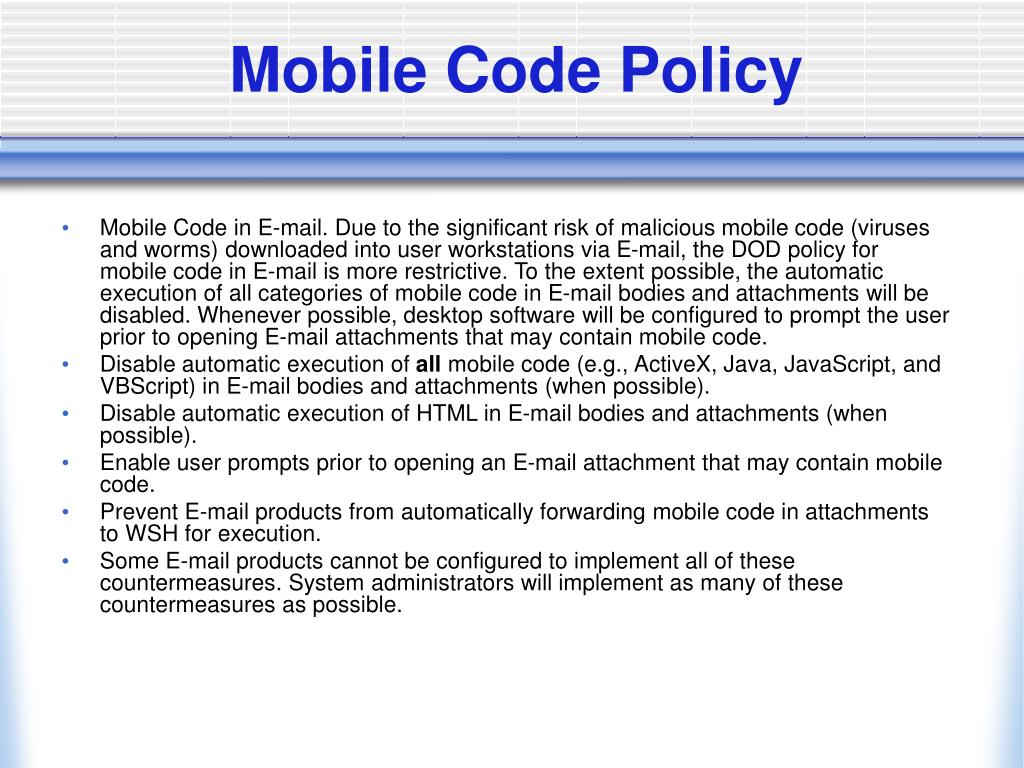 Mobile Code Policy
