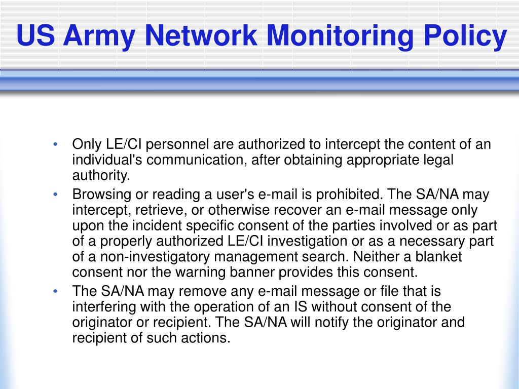 US Army Network Monitoring Policy