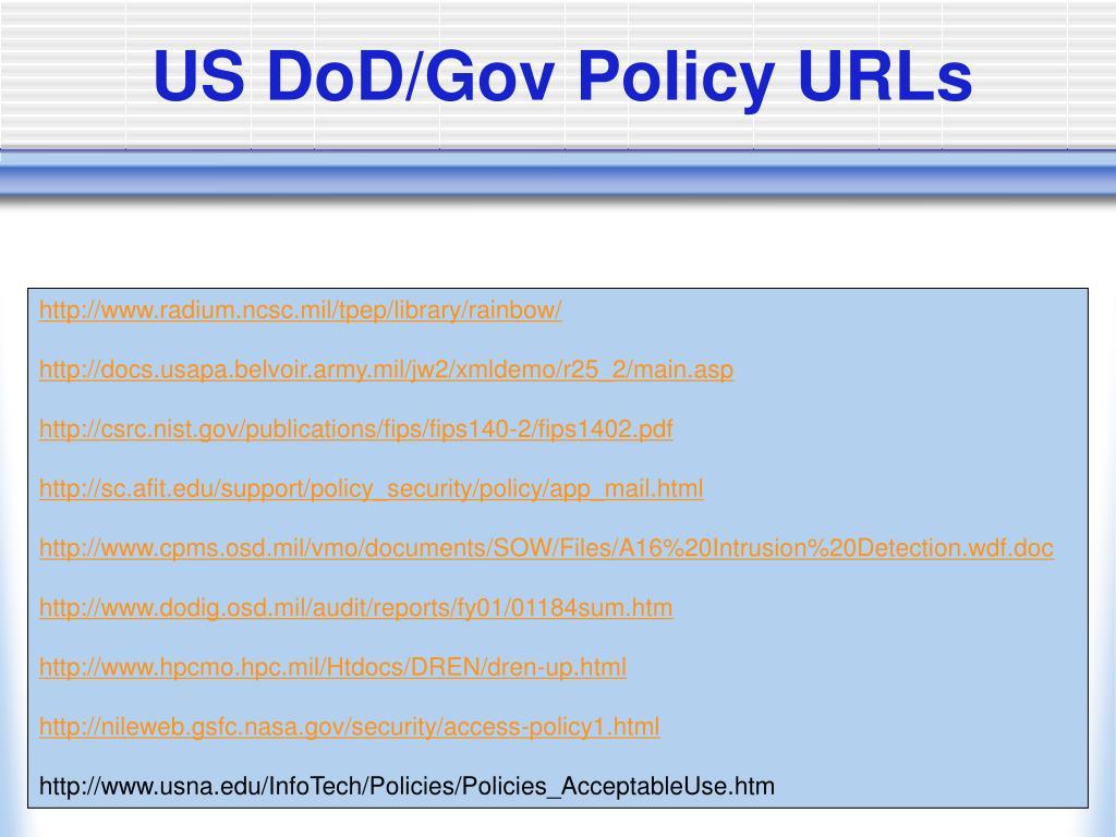 US DoD/Gov Policy URLs