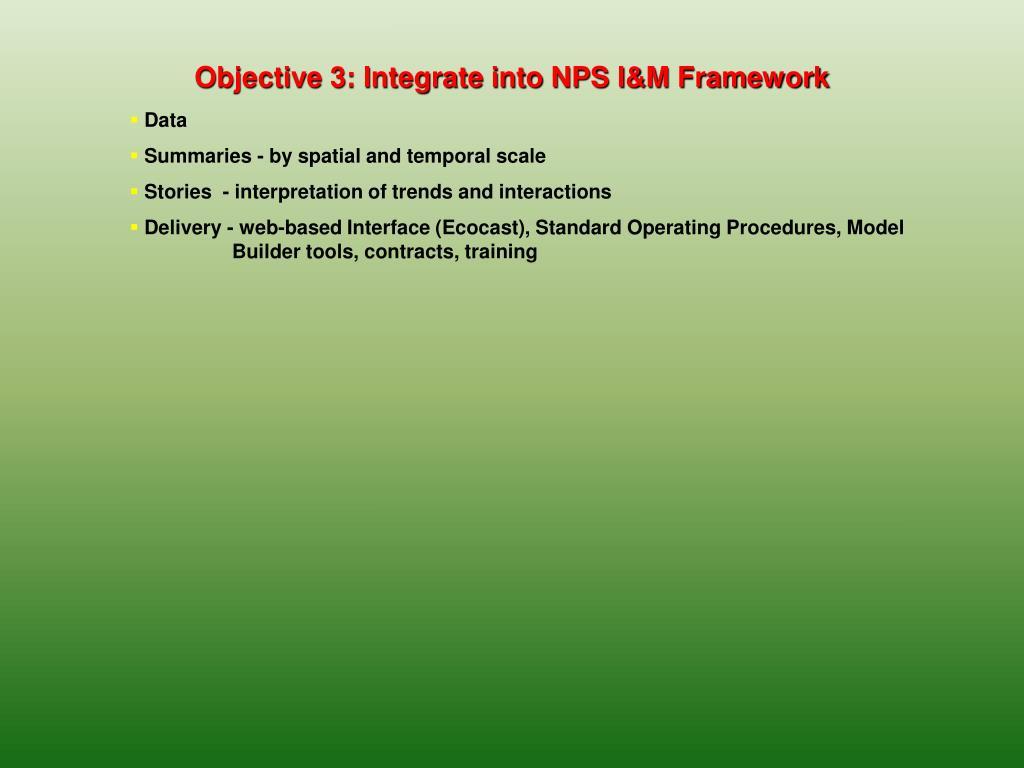 Objective 3: Integrate into NPS I&M Framework