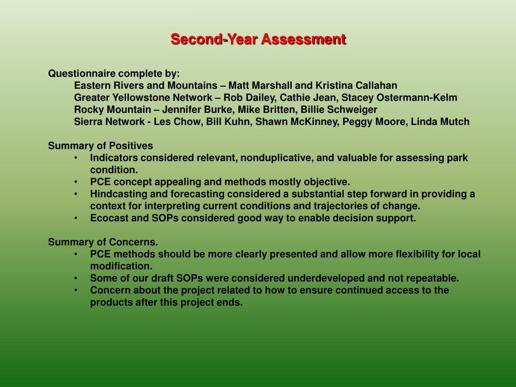 Second-Year Assessment
