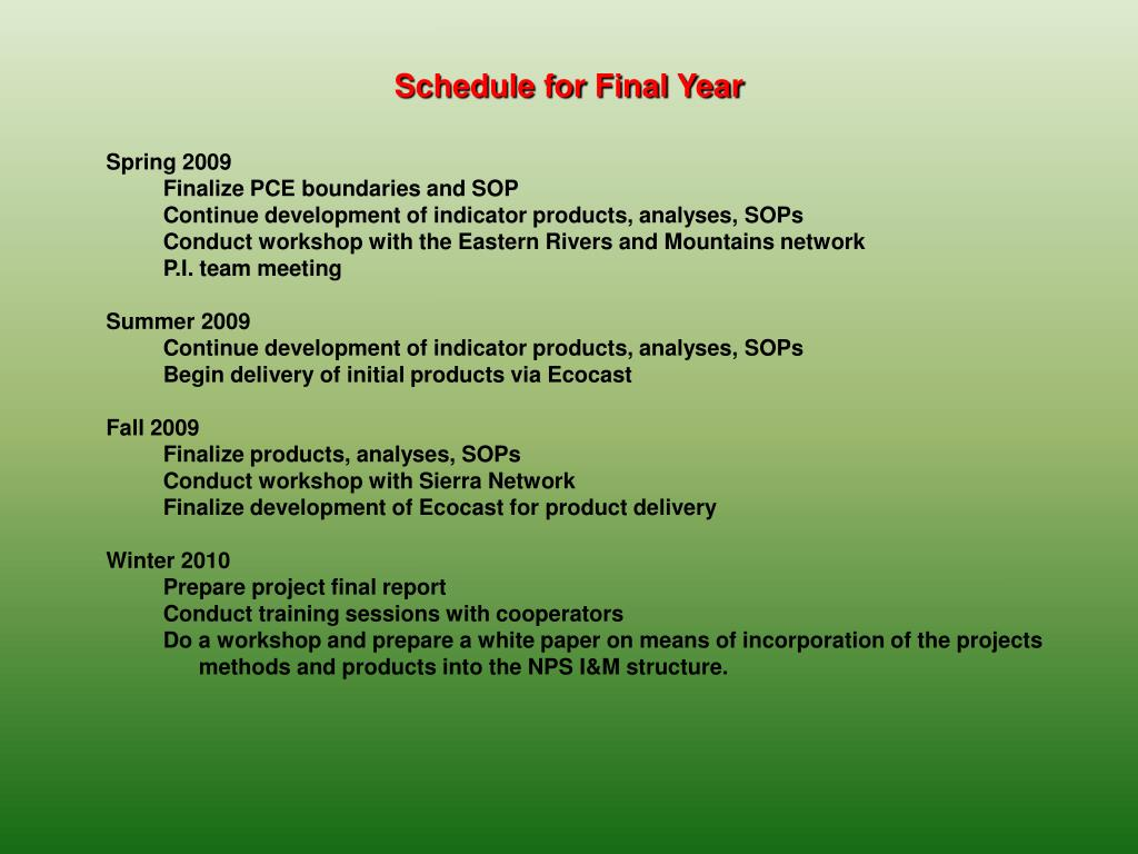 Schedule for Final Year