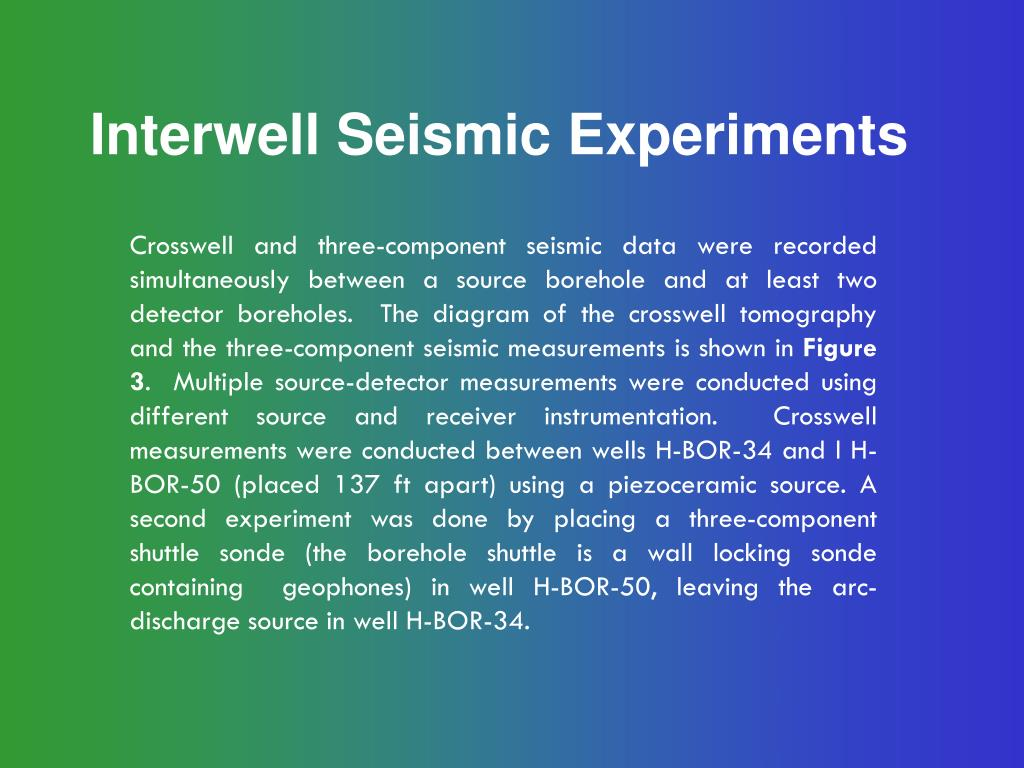 Interwell Seismic Experiments