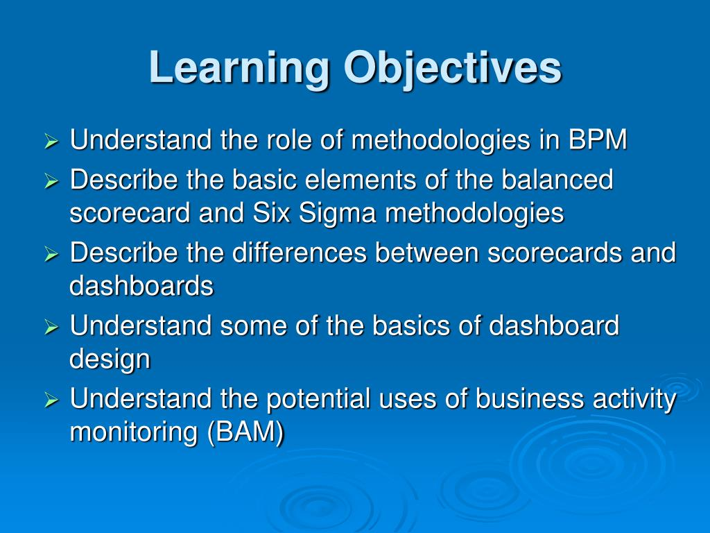 management and learning objective As a result, the navy recognized the importance of identifying and managing  content objects and their associated learning objectives from the initial stage of.