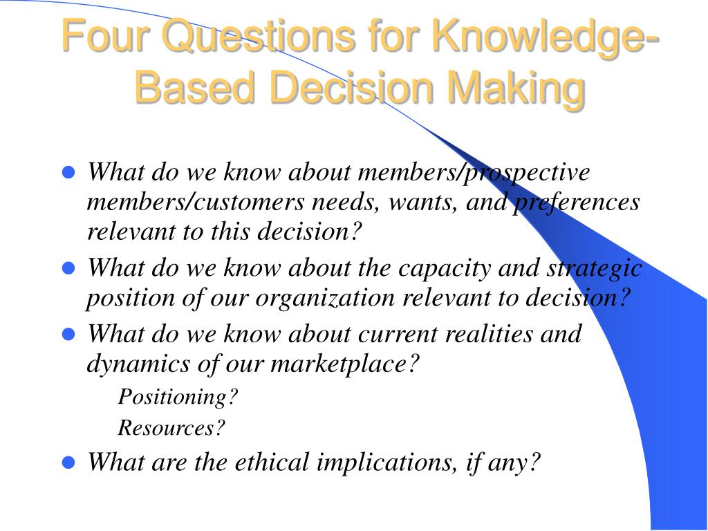 Four Questions for Knowledge-Based Decision Making