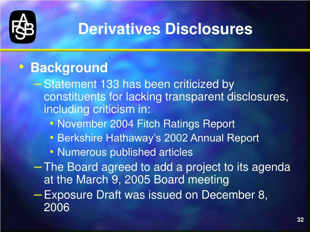Derivatives Disclosures