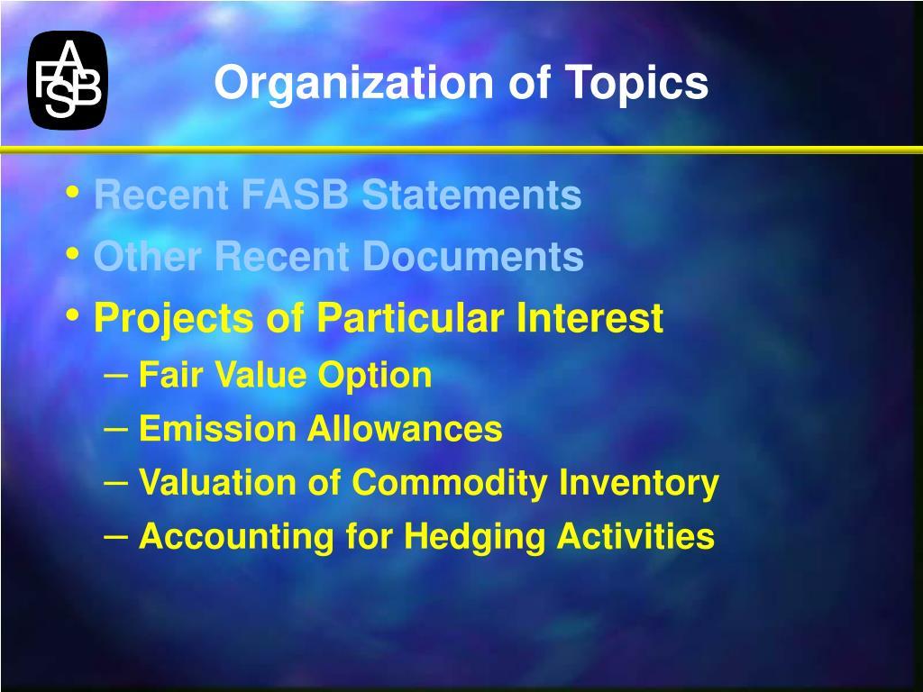 Organization of Topics