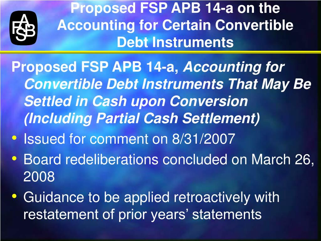 Proposed FSP APB 14-a on the Accounting for Certain Convertible Debt Instruments
