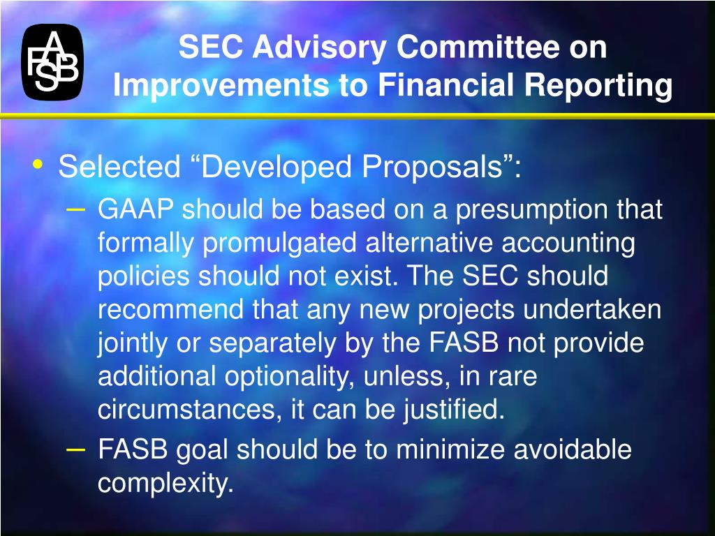 SEC Advisory Committee on Improvements to Financial Reporting