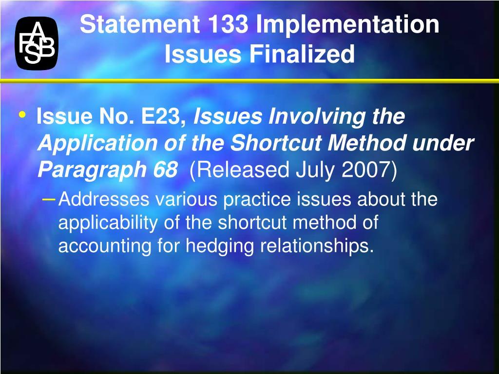 Statement 133 Implementation