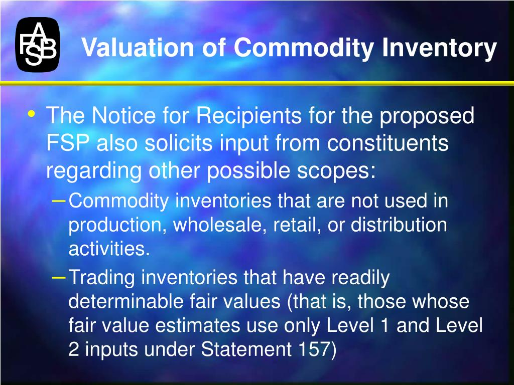 Valuation of Commodity Inventory