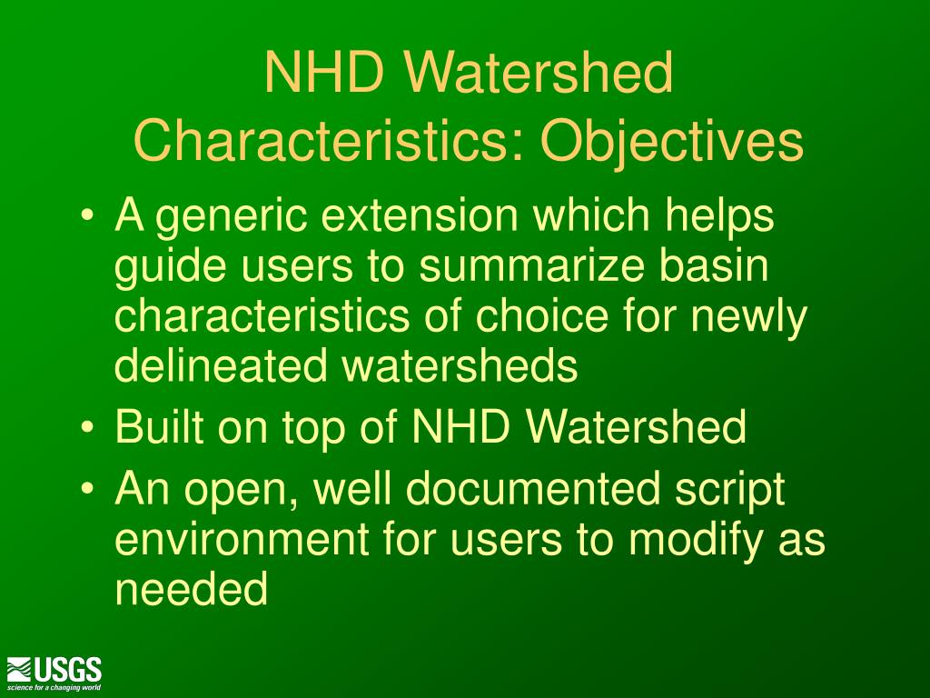 NHD Watershed Characteristics: Objectives