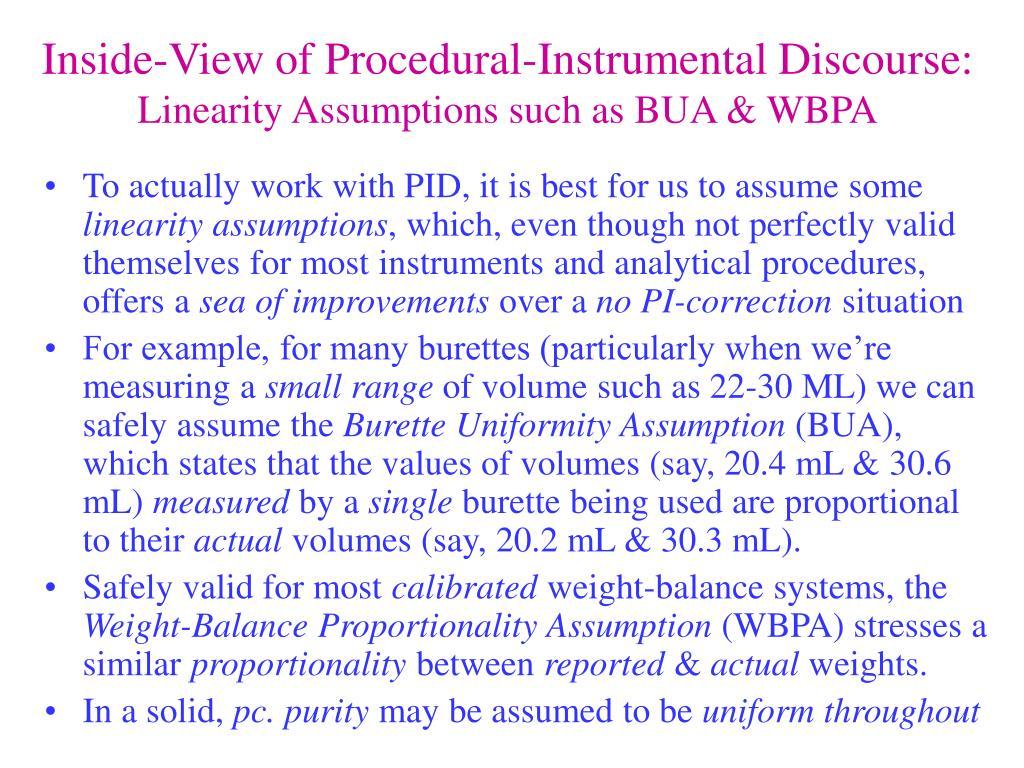 Inside-View of Procedural-Instrumental Discourse: