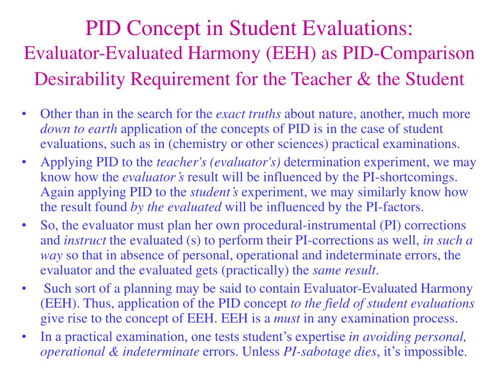 PID Concept in Student Evaluations: