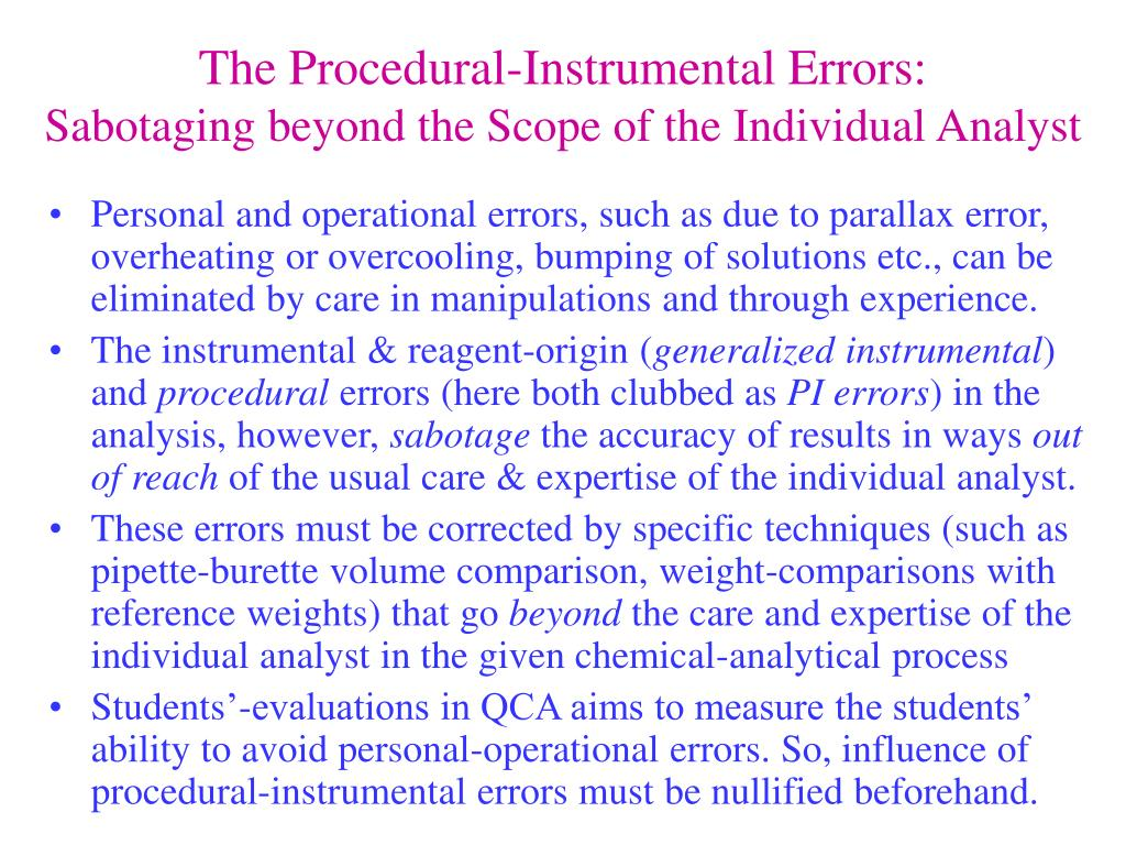 The Procedural-Instrumental Errors: