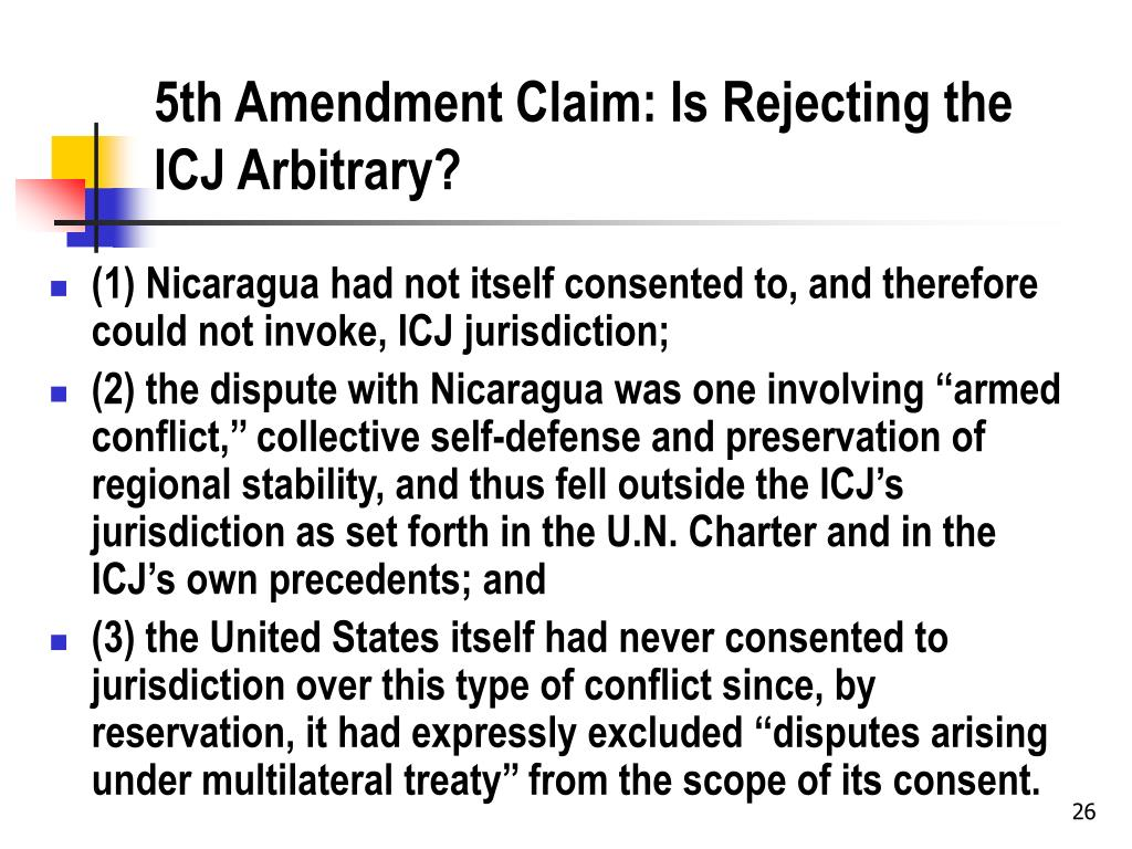 5th Amendment Claim: Is Rejecting the ICJ Arbitrary?
